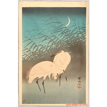 小原古邨: Egrets and Crescent Moon - Artelino