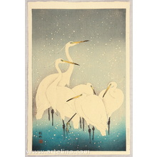 小原古邨: Egrets on a Snowy Night - Artelino