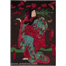 Utagawa Yoshitaki: Osaka Print - Thunder God and Maple Night - Artelino