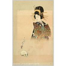 Tomioka Eisen: Courtesan and Skull - Artelino