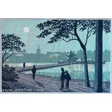 Fujishima Takeji: Shinobazu Pond in Moonlight - Famous Places in Tokyo - Artelino