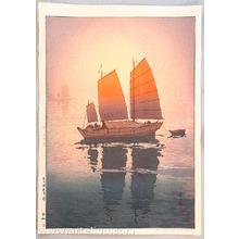 Yoshida Hiroshi: Sailing Boats in the Morning - Inland Sea - Artelino