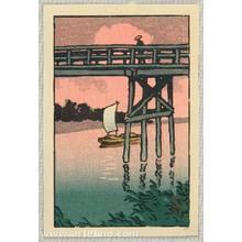 Kawase Hasui: Bridge and Sail Boat - Artelino