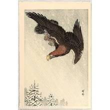 Ohara Koson: Eagle in Flight against Snowy Sky - Artelino