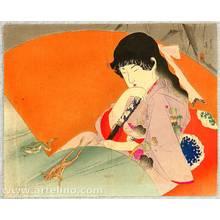 Tomioka Eisen: Beauty and Frogs - kuchi-e - Artelino