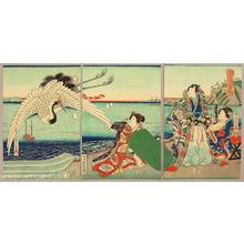 歌川房種: Prince Genji and Crane - Artelino