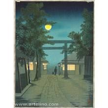Kobayashi Kiyochika: Torii and Full Moon - Artelino