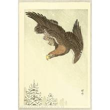 小原古邨: Eagle in Flight against Snowy Sky - Artelino