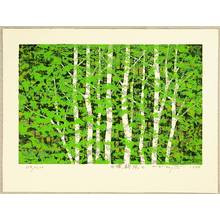 北岡文雄: White Birch, Fresh Green - C - Artelino