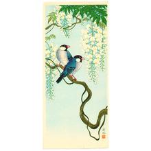 Ohara Koson: Two birds on white wisteria - Artelino