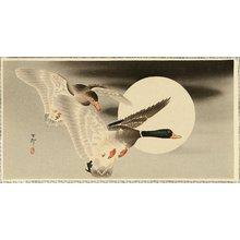 小原古邨: Two Mallard Ducks and the Moon - Artelino