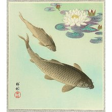 小原古邨: Two Carp and Water Lily Pad - Artelino