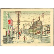 Fujishima Takeji: Kawaracho District in the Morning - Artelino