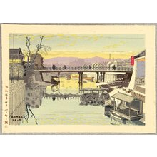 Fujishima Takeji: Sunset Glow at Kyobashi Bridge - Artelino