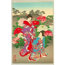豊原周延: Customs and Manners of Edo 12 Months - Ladies, Samurai and Sumo Wrestler - Artelino