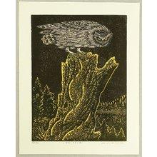 Tejima Keizaburo: Owl on Tree Stump - Artelino