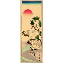 歌川芳員: Cranes and the Red Sun - Artelino
