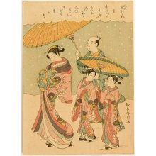 鈴木春信: Courtesan Walking in the Snow - Artelino