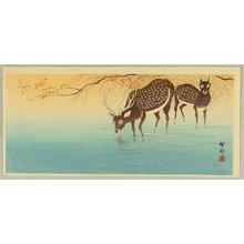 Ohara Koson: Deer in Shallow Water - Artelino