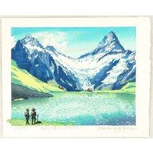 Morozumi Osamu: Lake at the Mountain top - Switzerland - Artelino