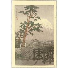 川瀬巴水: Mt. Fuji and kawai Bridge - Artelino