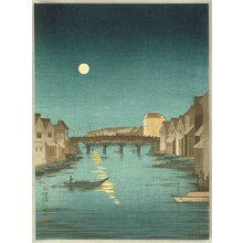 Kobayashi Kiyochika: Full Moon at Nihonbashi bridge - Artelino