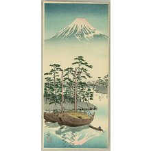 小林清親: Mt. Fuji and Sail Boats - Artelino