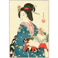 Mizuno Toshikata: Beauty and New Year's Decoration - Artelino