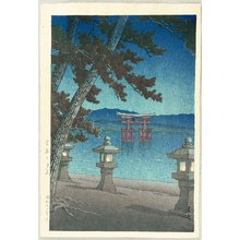 川瀬巴水: Moonlit Night in Miyajima - Artelino