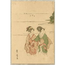 歌川豊広: Two Beauties at a Shore - Artelino