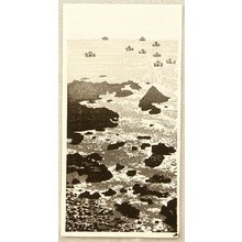 Okuyama Gihachiro: Sail Boats and Rocky Shore - Artelino