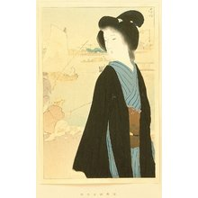 Kaburagi Kiyokata: Portfolio of Beauties - Hamamach Bank in Autumn - Artelino