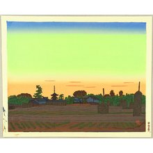 Hiratsuka Unichi: Villege of Horyu Temple in the Sunset Color - Artelino