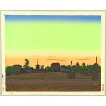 Hiratsuka Unichi: Villege of Horyu Temple in the Sunset Color - Artelino