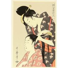 Kitagawa Utamaro: Twelve Hand Crafts of Ladies - Combing Hair - Artelino