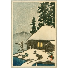 川瀬巴水: Snowy Village House - Artelino