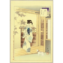 Mizuno Toshikata: Thirty-six Selected Beauties - Beauty and Cat - Artelino