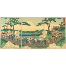 Yanagawa Shigenobu: Procession and Mt. Fuji - Artelino