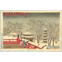 小林清親: Famous Places of Tokyo : Senso Temple in the Snow - Artelino