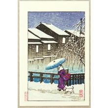 川瀬巴水: Snowy Evening - Artelino