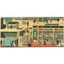 Utagawa Yoshikazu: Inside of a Steam Boat - Artelino