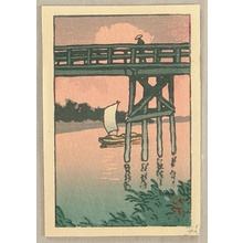 Kawase Hasui: Bridge and Sail Boat - Artelino
