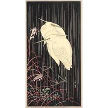 Imao Keinen: Two Egrets in Rainy Night - Artelino