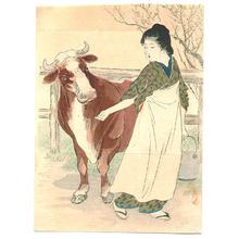武内桂舟: Cow Girl (Kuchi-e) - Artelino