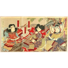 Utagawa Kunisada III: Genji Samurai Warriors on Mt. Ishibashi - Artelino