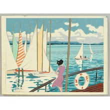 日下賢二: Sail Boats on Lake Biwa - Artelino