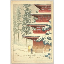 川瀬巴水: Saishoin Temple in the Snow - Artelino