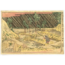 Katsushika Hokusai: Newly Published Perspective Picture of Chushingura - Act.5, Robber in Rainy Night - Artelino
