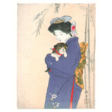 Takeuchi Keishu: Girl and Puppy (Kuchi-e) - Artelino