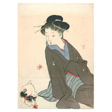 Takeuchi Keishu: Girl and Cat (Kuchi-e) - Artelino